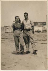 Trip to the Negev, 1947; my parents' first encounter. Moshe Yeshua and Zahara Yathom